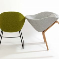 Green always chair on black sled and Grey always chair on oak base.
