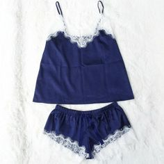 Satin Cami and Shorts Set Lace Nightgowns Comfy Pajamas Pretty Nighties Artif