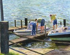 River boats landscape print of original by CathyHillegas on Etsy, $20.00