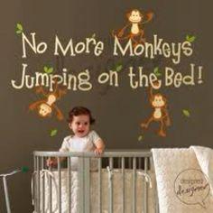 Image of No More Monkeys Jumping On The Bed - Vinyl Sticker Wall Decal Kids Children Nursery Monkey Room, Monkey Nursery, Jungle Nursery, Jungle Theme, Nursery Room, Monkey Baby Rooms, Nursery Murals, Kids Bedroom, Bedroom Ideas