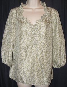 Old Navy Green Floral 100% Silk 3/4 Sleeve Blouse Top L Large