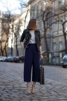culottes, navy and black, black leather moto jacket