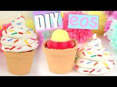 DIY ice~cream container with EOS inside! Eos Lip Balm, Tinted Lip Balm, Lip Balms, Eos Diy Crafts, Fun Crafts, Diy Ice Cream, Diy Lip Gloss, Diy Galaxy, Homemade Lip Balm