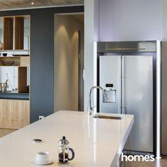 #kitchen #modern #contemporary #style #benchtop #coffee #fridge #sink #tap #interior #design #decor #style #home #house #homesplusmag Contemporary Style Homes, House And Home Magazine, Interior Inspiration, Modern, Sink, Kitchen, Design, Furniture, Home Decor