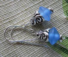 Earrings of Matte Blue Resin Beads and Scrolled by JoJosgems, $14.00