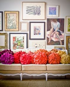 Eclectic. Colorful pillows. Design Dilemma: What to Hang On the Big Wall Behind Your Sofa - Emily A. Clark