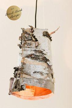 Beautiful DIY Birch Bark Lamp - Shelterness