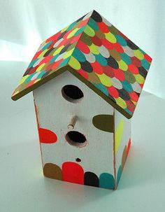 "Bird House Painting Ideas | might be getting a ""thing"" for hand painted birdhouses. I just saw ..."
