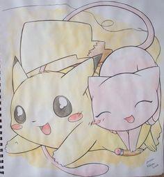 Mew and Pikachu by Kidura on DeviantArt Pokemon Memes, All Pokemon, Tribal Pokemon, Mew And Mewtwo, Cute Pokemon Wallpaper, Cute Pikachu, Original Pokemon, Fan Art, Cat Drawing