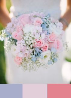 Tonos pastel... rosa y azul. #color #boda #bouquet                                                                                                                                                     Mais