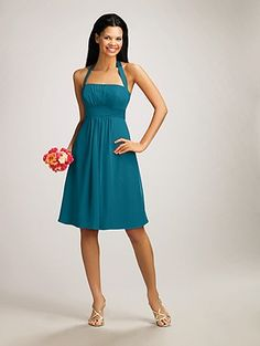 Alfred Angelo's teal bridesmaid dress. Would love to see this is a pastel or neutral
