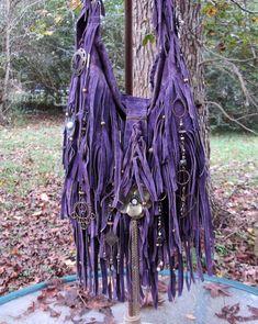 Handmade Purple Leather Fringe Bag Brass & Pearl Gypsy Boho by ShellB  #Handmade #ShoulderBag