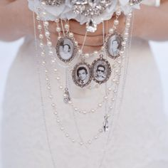 brooch bouquet photo charm memorial locket bridal | Mlle Artsy
