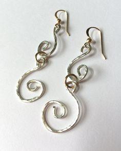 Hammered Sterling Silver & 14 Karat by SpiralVineDesigns on Etsy