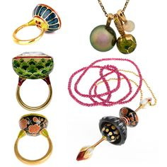 Enamelled jewellery inspired by traditional Kundan Meena jewellery, all by Alice Cicolini