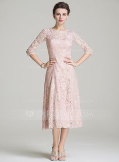 A-Line/Princess Scoop Neck Tea-Length Chiffon Lace Mother of the Bride Dress - Mother of the Bride Dresses - JJ's House Mother Of Groom Dresses, Bride Groom Dress, Mother Of The Bride, Mob Dresses, Tea Length Dresses, Bride Dresses, Fashion Dresses, Dresses 2016, Hippie Dresses