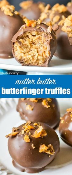 You'll love Butterfinger Nutter Butter Truffles: A tornado of cream cheese, Nutter Butters and Butterfinger candy bars rolled up and covered in chocolate.