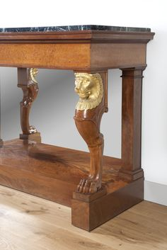 A French Empire mahogany ormolu marble console by Jacob Desmalter. Signature François-Honoré-Georges Jacob-Desmalter (1770–1841). Early 19th century.