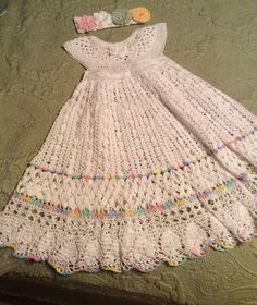 Baby Christening Gown Pattern - crochet heirloom vintage style by EmporiumHouse, Halina Matson designer $10.00 - Yoked interchangeable flower crochet  pattern