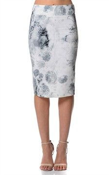 aPonti De Roma Pencil Skirt Knee Length-Sk3065-WhiteTyeDye