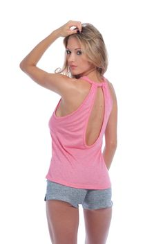 Knit-Style Tank w/ Ruched Open Back