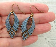"RUSSIAN LEAF EARRINGS   8/0 seed beads Miyuki ""Dark Bronze"" (457)  11/0 Miyuki Delica beads ""Metallic Bronze"" (DB22)  11/0 Miyuki Delica ..."