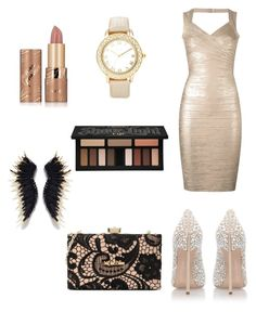 """Untitled #6"" by alisadenisova on Polyvore featuring Hervé Léger, Casadei, Chico's, tarte, Kat Von D and Love Moschino"