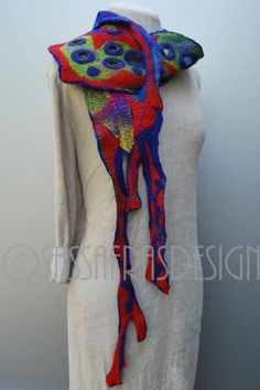 Claudio Burkhardt - Sassafras Designs. Wet felt sculptural scarf.
