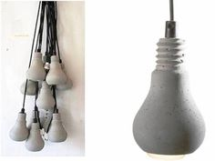 Concrete lamps in the shape of a lightbulb