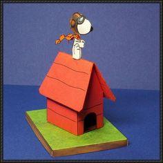 Cacahuetes - Snoopy como la Primera Guerra Mundial Flying Ace libre Papercraft Descargar