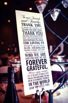 Thank you note to guests to be displayed at gift table.