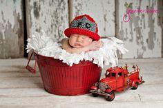 Fireman Hat Helmet Newborn thru 12 month size by YarningToBe, $25.00