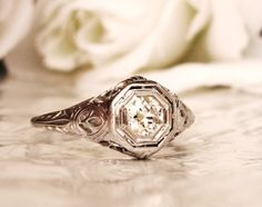 Edwardian Antique Engagement Ring 0.36ct by LadyRoseVintageJewel