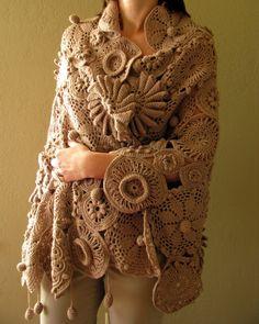 Hand-Crocheted Medallion Medley Fashion Shawl