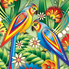 Home linen collection, bed covers and cushions. Produced and distributed by Euromoda. Illustrations By CATALINA ESTRADA Estilo Tropical, Tropical Art, Decoupage, Caribbean Art, Urban Street Art, Bird Artwork, Bird Illustration, Chinese Art, Bird Feathers