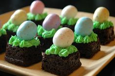 bite size Easter brownies- quick & easy dessert for Easter buffet- could even use store bought brownies, just top with green icing & candy!