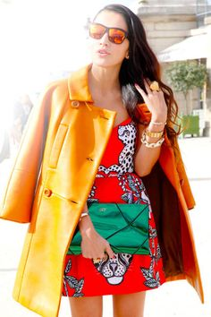 Orange leather is even cooler paired with a cheetah-print mini #streetstyle