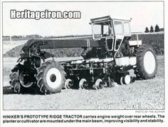 Q: What well known shortline company built this prototype tractor in 1985 in an effort to enter the tractor market? A: In 1985, the Hiniker Company built and tested a prototype tractor designed to ridge-til and plant more efficiently and conveniently than other tractors currently produced. However, the tractor never reached production. #HeritageIron #MuscleTractor