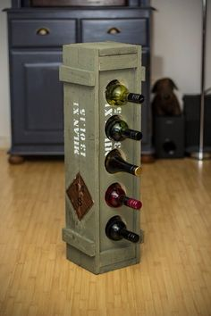 Best Diy Wood Crate Furniture Wine Racks 20 Ideas - Basket and Crate Wine Rack Furniture, Wood Crate Furniture, Wood Crates, Wooden Boxes, Furniture Ideas, Military Box, Pallet Wine, Into The Woods, Automotive Decor