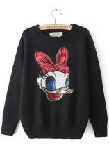 Black Long Sleeve Duck Pattern Sequined Sweater