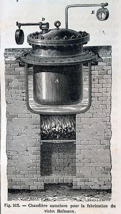 """""""Chaudière autoclave pour la fabrication du violet Hofmann"""".  Ilustraciones de la obra :  Les merveilles de l'industrie ou, Description des principales industries modernes / par Louis Figuier. - Paris : Furne, Jouvet, [1873-1877]. - Tome II"""