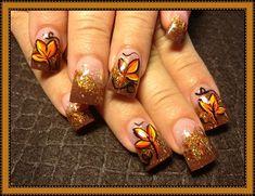 Nail art from the NAILS Magazine Nail Art Gallery, hand-painted, Holiday Acrylic Nails, Fall Gel Nails, Holiday Nail Art, Fall Nail Art, Autumn Nails, Cute Nail Art, Halloween Nail Art, Long Acrylic Nails, Cute Nails