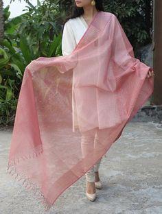 Pink-Golden Maheshwari Cotton Silk Dupatta