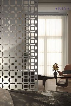 Make 1 room into 2 with a Metal Decorative Room Divider / Privacy Screen by ABIYA. Our Screens come in various sizes, installations, colours and patters. VISIT OUR WEBSITE TODAY TO DESIGN YOURS! #abiya #mashrabiya #pattern # design #roomdivider #roompartition #decorativescreen #arabic Decorative Screen Panels, Decorative Room Dividers, Decor Interior Design, Interior Decorating, Room Partition Designs, Privacy Screen Outdoor, Architectural Elements, Home And Garden, Pattern Design
