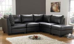 Rug And Wall Color Black Sofa Decor Furniture Corner Leather