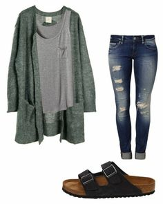 Big cardigan, soft cute shirt under, ripped jeans, sandals😍😍 perfect outfit Teenage Outfits, Cute Outfits For School, Cute Comfy Outfits, Teen Fashion Outfits, Mode Outfits, Look Fashion, Trendy Outfits, Simple College Outfits, Cute College Clothes