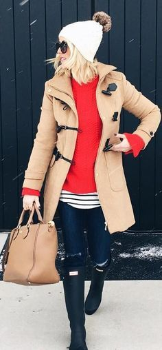 #winter #fashion / White Beanie / Camel Coat / Red Knit / Striped Tee / Ripped Skinny Jeans / Black Boots / Camel Leather Tote Bag