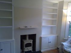 fitted built in alcove cupboards with log burning stove, Alcove Storage, Alcove Shelving, Alcove Cupboards, Living Room Cabinets, Living Room Shelves, My Living Room, Chimney Breast, Front Rooms, Room Inspiration