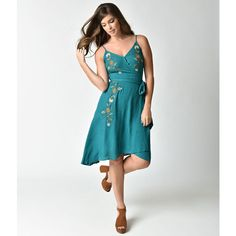 1970s Style Teal Floral Embroidered True Wrap Flare Dress ($68) ❤ liked on Polyvore featuring dresses, high low wrap dress, flared skirt, high low dresses, white skater skirt and white circle skirt