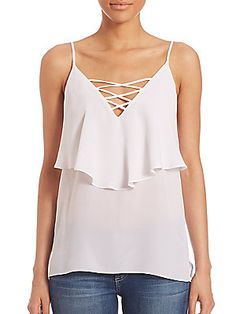 Bailey 44 Lace Up Ruffle Cami